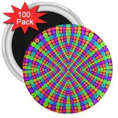 Many Circles 3  Button Magnet (100 pack)