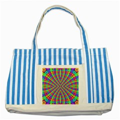 Many Circles Blue Striped Tote Bag