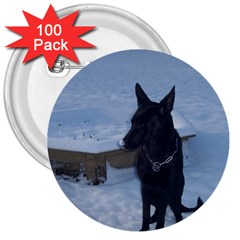 Snowy Gsd 3  Button (100 Pack)