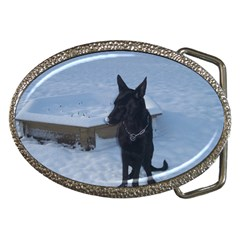 Snowy Gsd Belt Buckle (oval)