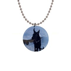 Snowy Gsd Button Necklace