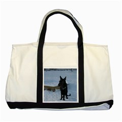 Snowy Gsd Two Toned Tote Bag
