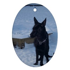 Snowy Gsd Oval Ornament (Two Sides)
