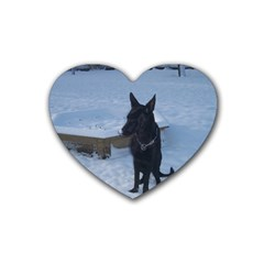 Snowy Gsd Drink Coasters 4 Pack (heart)