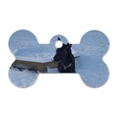 Snowy Gsd Dog Tag Bone (two Sided)