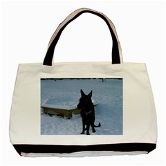 Snowy Gsd Twin Sided Black Tote Bag