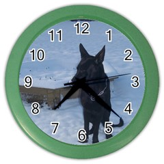 Snowy Gsd Wall Clock (color)