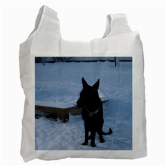 Snowy Gsd White Reusable Bag (One Side)