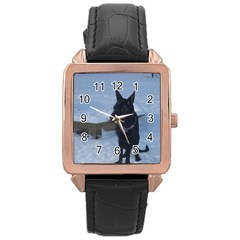 Snowy Gsd Rose Gold Leather Watch