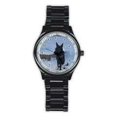 Snowy Gsd Sport Metal Watch (Black)