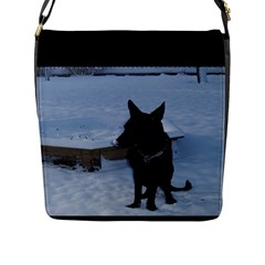Snowy Gsd Flap Closure Messenger Bag (Large)