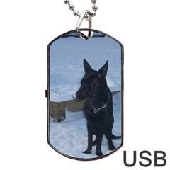 Snowy GSD Dog Tag USB Flash (Two Sides)