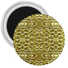 Gold Plated Ornament 3  Button Magnet
