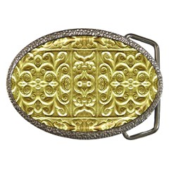 Gold Plated Ornament Belt Buckle (Oval)