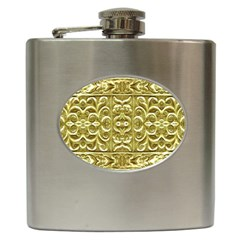 Gold Plated Ornament Hip Flask