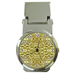 Gold Plated Ornament Money Clip with Watch