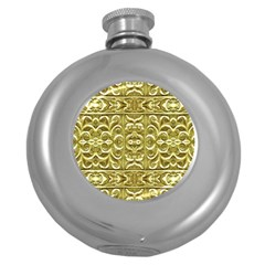 Gold Plated Ornament Hip Flask (Round)