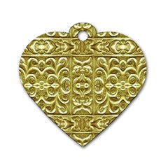 Gold Plated Ornament Dog Tag Heart (Two Sided)