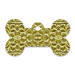 Gold Plated Ornament Dog Tag Bone (Two Sided)