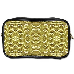 Gold Plated Ornament Travel Toiletry Bag (two Sides)