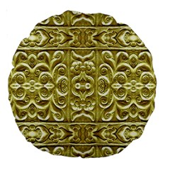 Gold Plated Ornament 18  Premium Round Cushion