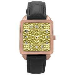 Gold Plated Ornament Rose Gold Leather Watch