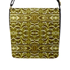 Gold Plated Ornament Flap Closure Messenger Bag (Large)