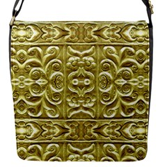 Gold Plated Ornament Flap Closure Messenger Bag (Small)
