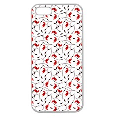 Delicate Red Flower Pattern Apple Seamless Iphone 5 Case (clear)
