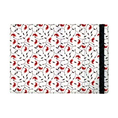 Delicate Red Flower Pattern Apple iPad Mini Flip Case