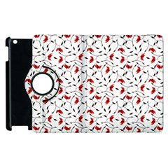 Delicate Red Flower Pattern Apple iPad 3/4 Flip 360 Case