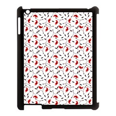 Delicate Red Flower Pattern Apple Ipad 3/4 Case (black)