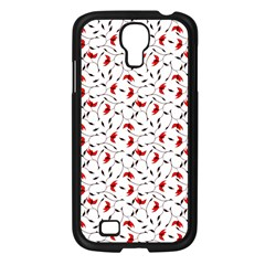 Delicate Red Flower Pattern Samsung Galaxy S4 I9500/ I9505 Case (black)