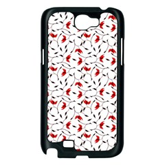 Delicate Red Flower Pattern Samsung Galaxy Note 2 Case (Black)