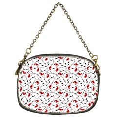 Delicate Red Flower Pattern Chain Purse (one Side)
