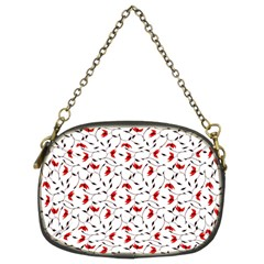 Delicate Red Flower Pattern Chain Purse (two Sided)