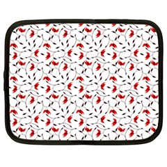 Delicate Red Flower Pattern Netbook Sleeve (xxl)