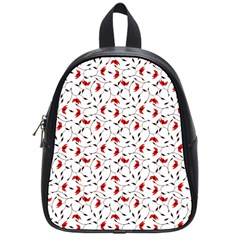 Delicate Red Flower Pattern School Bag (small)