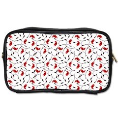 Delicate Red Flower Pattern Travel Toiletry Bag (one Side)