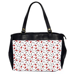 Delicate Red Flower Pattern Oversize Office Handbag (two Sides)