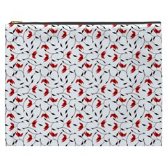 Delicate Red Flower Pattern Cosmetic Bag (XXXL)
