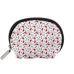 Delicate Red Flower Pattern Accessory Pouch (Small)