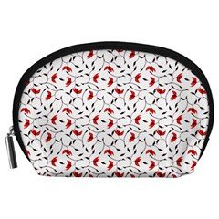 Delicate Red Flower Pattern Accessory Pouch (large)
