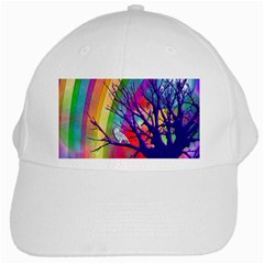 Rainbow Moon White Baseball Cap