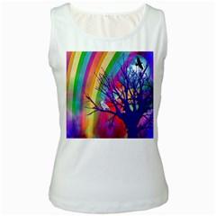 Rainbow Moon Women s Tank Top (White)