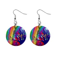 Rainbow Moon Mini Button Earrings