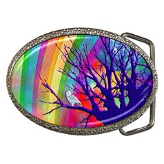 Rainbow Moon Belt Buckle (Oval)