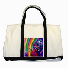 Rainbow Moon Two Toned Tote Bag