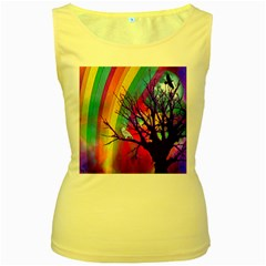 Rainbow Moon Women s Tank Top (Yellow)