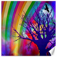 Rainbow Moon Canvas 12  X 12  (unframed)